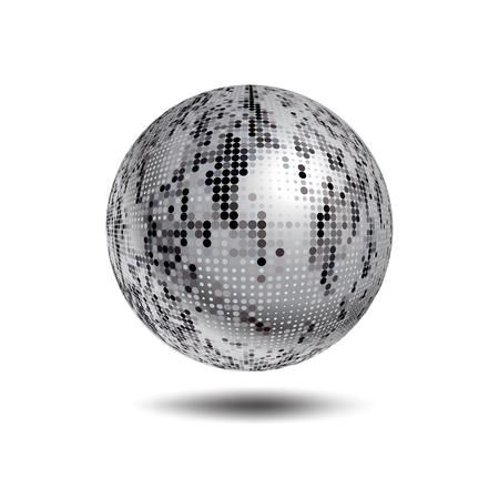 Disco Ball Hintergrund. Vector Silber Disco-Kugel auf einem weißen Hintergrund. Vector abstrakte gepunkteten Globus. Wissenschaft und Technologie, Tourismus, finanziellen oder ökologischen Hintergrund Standard-Bild - 46464838