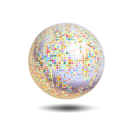 Disco ball background. Vector disco ball on a white background. Vector abstract dotted globe. Abstract globe symbol, isolated round icon, business concept