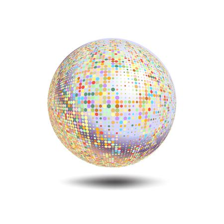 Disco Ball Hintergrund. Vektor Disco-Kugel auf einem weißen Hintergrund. Vector abstrakte gepunkteten Globus. Abstract globe-Symbol, isoliert Runde Symbol, Business-Konzept Standard-Bild - 46464841