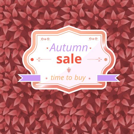 botanic: Sale card on autumn leaves texture. Red leaves background. Autumn leaf seamless  pattern with space for text. Organic, bio, botanic, floral season, bush, plant background Illustration