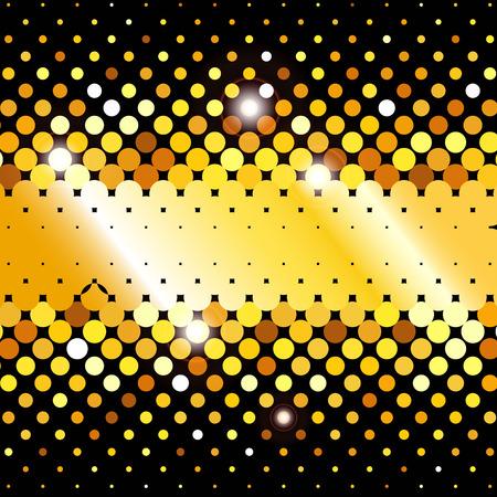 disco background: Gold disco lights vector abstract background. Gold shimmer background with shiny golden and black paillettes. Mosaic background. Sparkling gold sequins on a black background