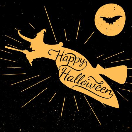 wiedźma: Czarny i pomarańczowy motywacyjne plakaty. Vintage Halloween Czarownica z kaligrafii. witch sylwetka kształt. Inspirująca typografii. Ręcznie rysowane typografii plakat szczęśliwy Halloween