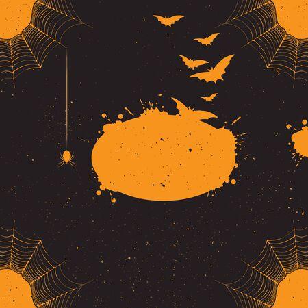 attribute: Halloween achtergrond. Vector Halloween achtergrond met veel vliegende knuppels, spinneweb, spin. Halloween sjabloon voor ontwerp met vakantie attribuut. Vector halloween achtergrond