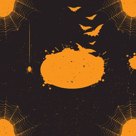 spider's web: Halloween background. Vector Halloween background with many flying bats, spiders web, spider. Halloween template for design with holiday attribute. Vector halloween backdrop Illustration