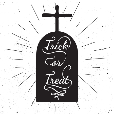 headstone: Black and white motivational posters. Halloween headstone with calligraphy. Headstone shape with messy. Hand drawn typography poster Trick or treat