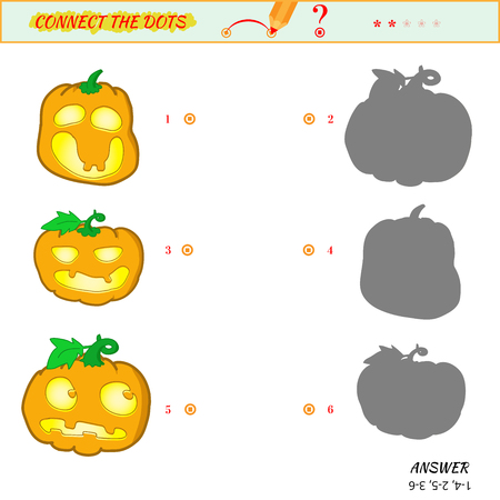 Visual game for kid. Matching applications game. Connect the dots picture. Puzzle, maze, jigsaw, quiz, rebus, game for preschool child. Cartoon jack-o- lantern Çizim