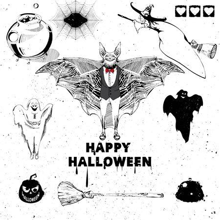 halloween spider: Halloween design elements. Collection of halloween witch, bat, pumpkin, spider, ghost, broom, cauldron, spiderweb. Vintage hand drawn Halloween poster design