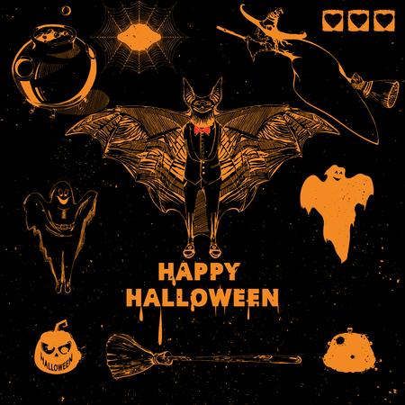 spiderweb: Halloween design elements. Collection of halloween witch, bat, pumpkin, spider, ghost, broom, cauldron, spiderweb. Vintage hand drawn Halloween poster design