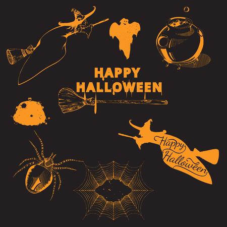 spiderweb: Set of Halloween design elements. Collection of halloween witch, spider, ghost, broom, cauldron, spiderweb. Vintage hand drawn Halloween poster design in engraving style