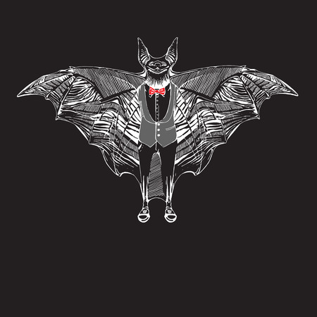 horrify: Vector bat in hand draw style. Halloween elements for design. Halloween poster with bat in vintage style. Bat in tuxedo and Bow tie. Chalkboard image of bat