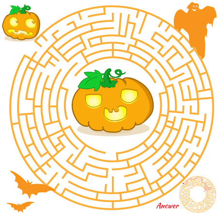 Halloween maze game for kids. Visual game for Preschool Children. Maze puzzle with solution. Vector Labyrinth for preschool children. Rebus or quiz for school