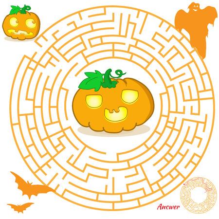 laberinto: Juego de laberinto de Halloween para los ni�os. Juego visual para ni�os en edad preescolar. Rompecabezas del laberinto con soluci�n. Vector laberinto para los ni�os en edad preescolar. Rebus o concurso para la escuela