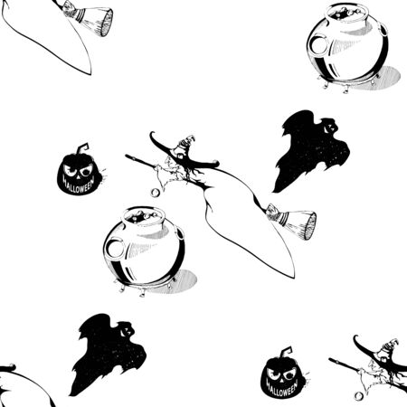 caldron: Happy Halloween! Seamless pattern with pumpkins, witch, ghost, caldron. Black and white seamless pattern for Halloween. Seamless pattern with Halloween icons on isolated background