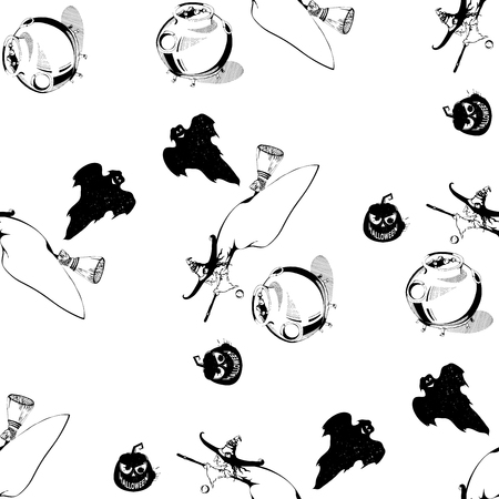 caldron: Vector seamless halloween pattern. Seamless pattern with pumpkins, witch, ghost, caldron. Black and white seamless pattern for Halloween. Halloween pattern on isolated background