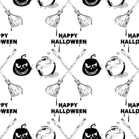 caldron: Happy Halloween clipart image. Vector seamless halloween pattern. Seamless pattern with pumpkins, jack-o-lantern, ghost, caldron. Sketch style Halloween pattern Illustration