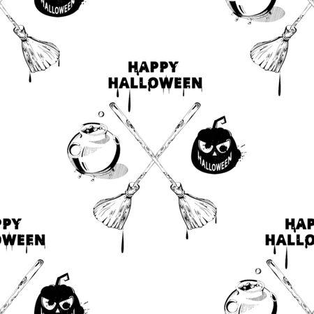 Fondo De Pantalla Happy Halloween. Vector Sin Patrón De Halloween ...