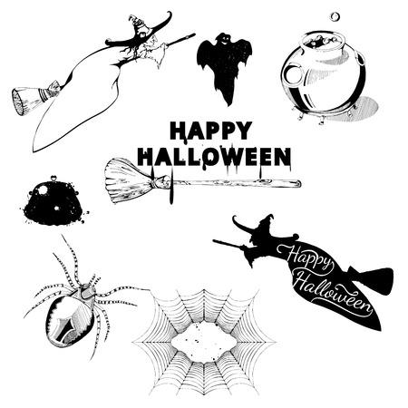 witch spider: Set of Halloween design elements. Collection of halloween witch, spider, ghost, broom, cauldron, spiderweb. Vintage hand drawn Halloween poster design in engraving style