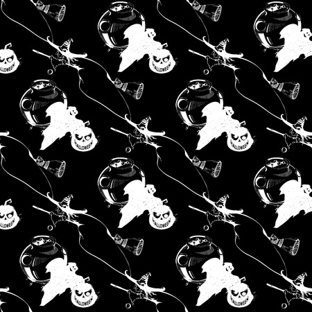 caldron: Happy Halloween! Seamless pattern with pumpkins, witch, ghost, caldron. Black and white seamless pattern for Halloween. Seamless pattern with Halloween icons on black background
