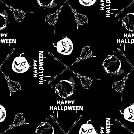 halloween pattern: Happy Halloween wallpaper. Vector seamless halloween pattern. Seamless pattern with pumpkins, jack-o-lantern, ghost, caldron. Vintage Halloween pattern