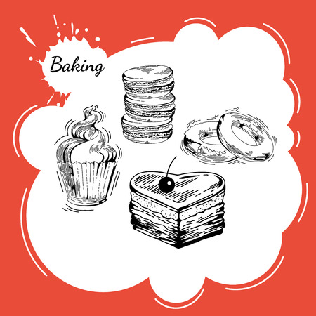 baked goods: Vector set of bakery sweets. Hand drawing pastry, bakery products. Elements for cake websites. Cake, cupcake, muffin, pie, donut, macaroon, pastries  and other baked goods