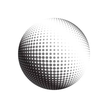 environmental science: Abstract halftone circle design. Isolated round icon, abstract globe symbol, business concept. Abstract black dotted sphere. Science and tourism, technology or environmental background