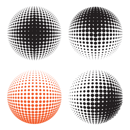 environmental science: Abstract halftone circle design. Set of round icon, abstract globe symbol, business concept. Abstract black dotted sphere. Science and tourism, technology or environmental background