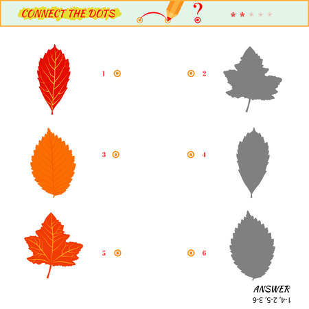 matching: Visual game for kid. Matching applications game. Connect the dots picture. Puzzle, maze, jigsaw, quiz, rebus, game for preschool child. Cartoon leaves Illustration