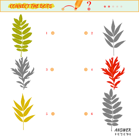 two minds: Visual game for kid. Matching applications game. Connect the dots picture. Puzzle, maze, jigsaw, quiz, rebus, game for preschool child. Cartoon leaves Illustration