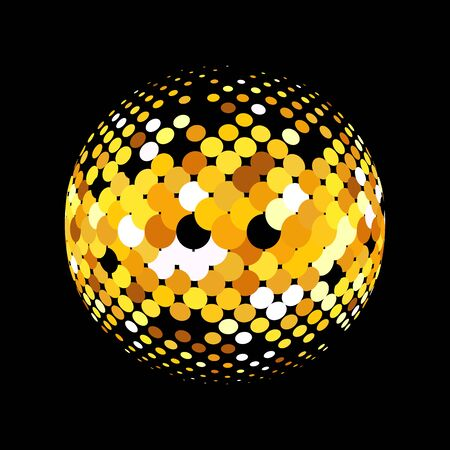 gold globe: Gold vector abstract background. Abstract globe symbol, round icon, business concept. Gold dots on black background. Sparkling gold sequins on a black background Illustration