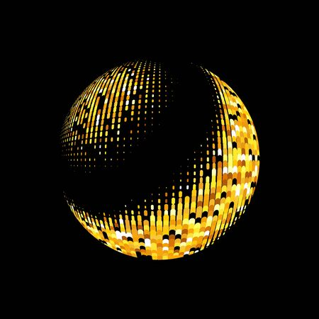 gold globe: Gold vector abstract background.Vector abstract dotted globe. Gold dots on black background. Sparkling gold sequins on a black background. Disco ball background