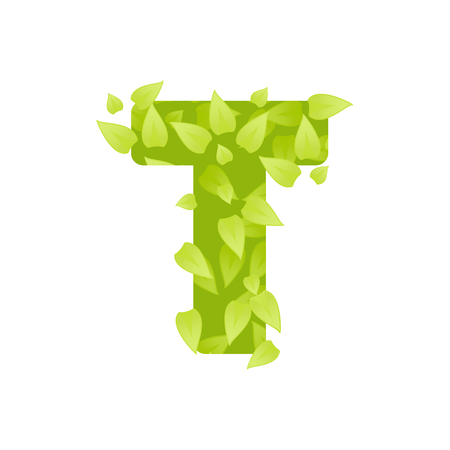 grass font: Alphabet of green grass on white background. Grass font letter. Vector illustration of letter T of green leaves. Lettering of grass alphabet. Typography font with grass texture