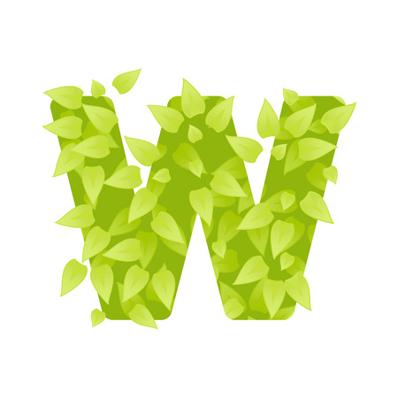 grass font: Alphabet of green grass on white background. Grass font letter. Vector illustration of letter W of green leaves. Lettering of grass alphabet. Typography font with grass texture
