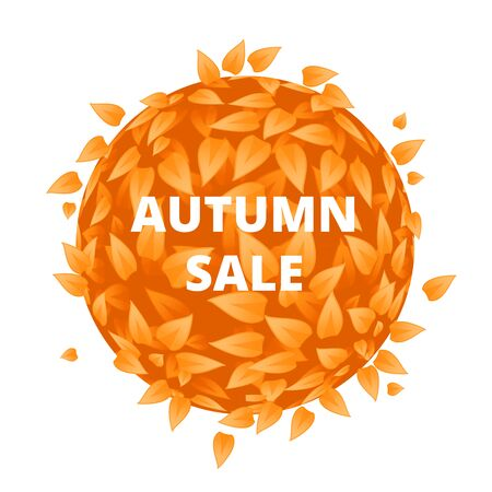 Eco Friendly label. Yellow leaves vector. Orange leaves with sale font. Sale banner with leaves. Autumn sale label with Eco background. Discount background with circle shape leaves