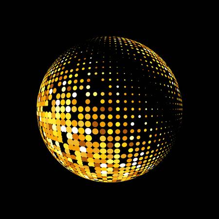 Goud vector abstract background.Vector abstract gestippelde hele wereld. Gouden puntjes op zwarte achtergrond. Fonkelende gouden pailletten op een zwarte achtergrond. Disco bal achtergrond