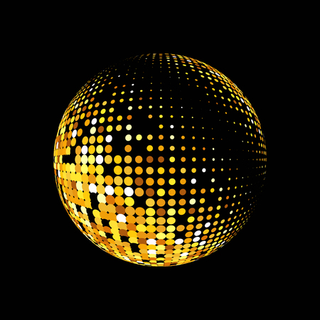 Gold vector abstract background.Vector abstract dotted globe. Gold dots on black background. Sparkling gold sequins on a black background. Disco ball background