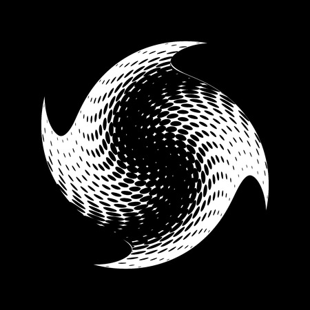 stippled: Abstract halftone circle design. White round icon on black background, abstract globe symbol, business concept. Abstract white dotted sphere. Stippled background