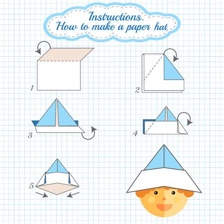 Instrucciones de cómo hacer el sombrero de papel. Sombrero Tutorial hecho del paso del papel a paso. Vector origami sombrero. Juego educativo para los niños. Juego visual para niños en edad preescolar. Sombrero bricolaje hecho de artesanía