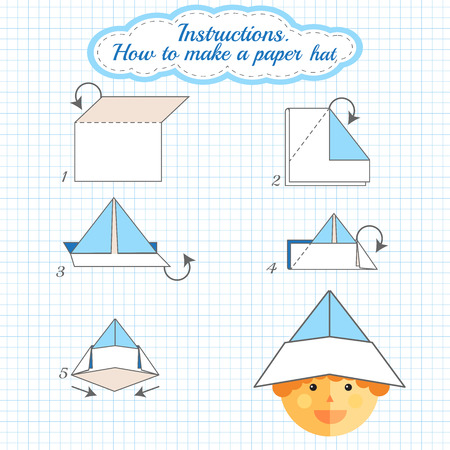 tutorial: Instructions how to make paper hat. Tutorial hat made of paper step by step. Vector origami hat. Educational game for kids. Visual game for preschool children. Hat diy made of craft