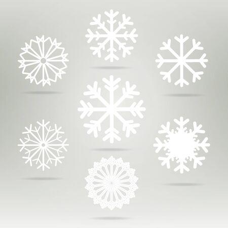 Schneeflocken Set Vektor-Icons. Hintergrund für Winter und Weihnachten Thema. Schneeflocken flach unterschiedlich geformte eingestellt. Schneeflocken-Symbol, Abzeichen weiße Farbe Standard-Bild - 48038400