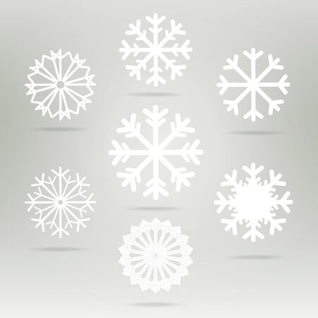 snowflake set: Snowflakes set vector icons. Background for winter and christmas theme. Snowflakes  set flat different shaped. Snowflake symbol, badge white color