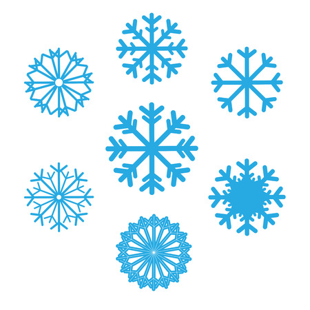 and in winter: Set of snowflakes vector icons. Background for winter and christmas theme. Set snowflakes flat different shaped. Snowflake symbol, badge blue color on isolated background