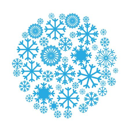 pictogramme: Circle banner with Christmas and New Year symbols including snowflake. Design element for Christmas card, Christmas banner or flyer with space text. Vector templates Illustration