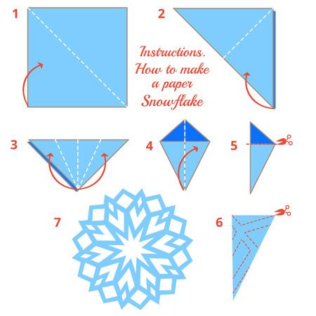 Anleitungen, wie Sie Papier Schneeflocke zu machen. Weihnachten Schneeflocke Tutorial Schritt für Schritt. Vector Origami Schneeflocke. Lernspiel für Kinder. Visuelle Spiel. diy des Handwerks gemacht Standard-Bild - 48039260