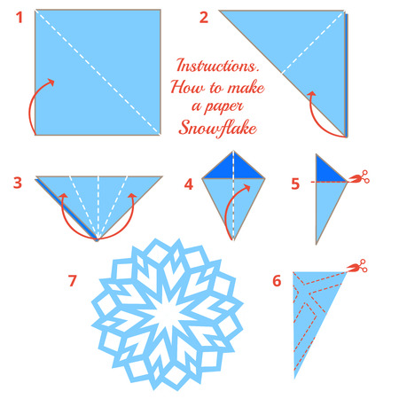 Instructions how to make paper snowflake. Tutorial Christmas snowflake step by step. Vector origami snowflake. Educational game for kids. Visual game. diy made of craft