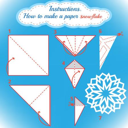 Anleitungen, wie Sie Papier Schneeflocke zu machen. Weihnachten Schneeflocke Tutorial Schritt für Schritt. Vector Origami Schneeflocke. Lernspiel für Kinder. Visuelle Spiel. diy des Handwerks gemacht Standard-Bild - 48039261