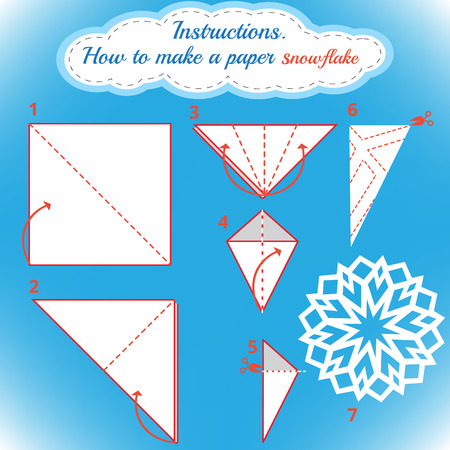 snowflake: Instructions how to make paper snowflake. Tutorial Christmas snowflake step by step. Vector origami snowflake. Educational game for kids. Visual game. diy made of craft