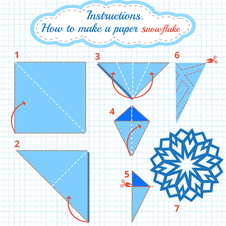 game: Instructions how to make paper snowflake. Tutorial Christmas snowflake step by step. Vector origami snowflake. Educational game for kids. Visual game. diy made of craft