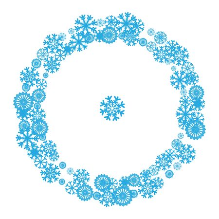 pictogramme: Circle banner with Christmas and New Year symbols including snowflake. Design element for Christmas card, banner, flyer with space text. Vector templates. New year celebration pictogramms