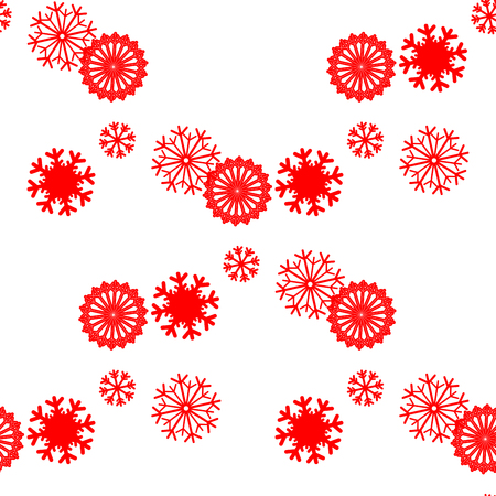 snowflakes: Snowflake vector pattern. Duotone seamless winter texture. Winter background. Christmas template. Red seamless snowflake pattern Illustration