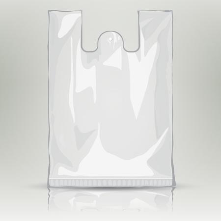 envases de plástico: plantilla de paquete de escala de grises bolsa de plástico desechable. bolsa de plástico en blanco con lugar para el diseño y la marca. Listo para su diseño. la bolsa de embalaje del producto. Vector bolsa transparente.